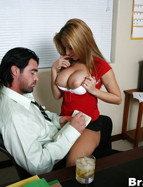 Slutty blonde whore takes her clothes off in the office and rides a huge fat dong
