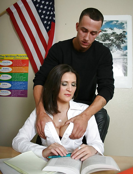 Good looking busty MILF teacher takes her panties off and fucks with a student