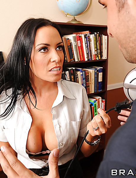 Classy brunette office babe takes her clothes off and gets banged in sexy stockings
