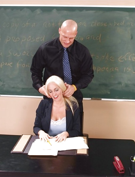 Hung teacher seduces her blonde student and lets him blow his hard fat cock.