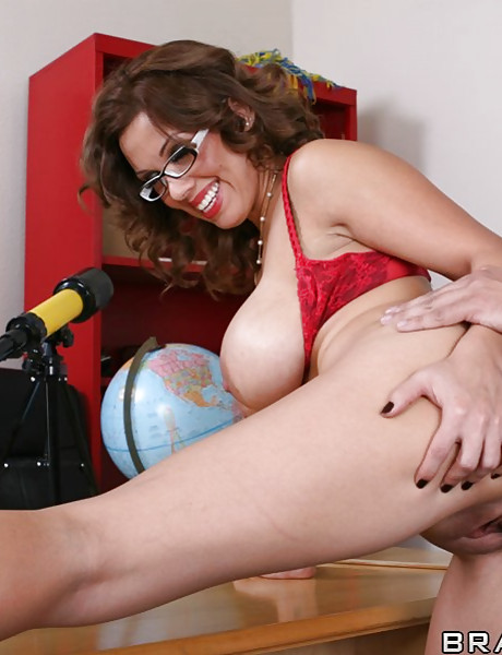 Classy mature teacher strips her red lingerie for her student and gets screwed.