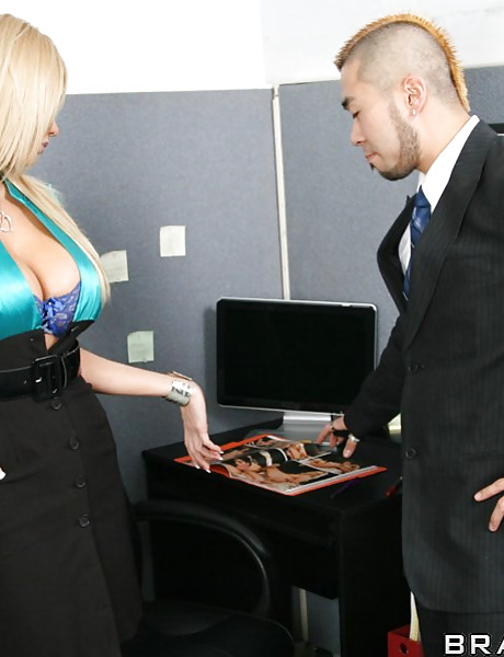 Hot blonde office slut and her lusty friend take their lingerie and get fucked.