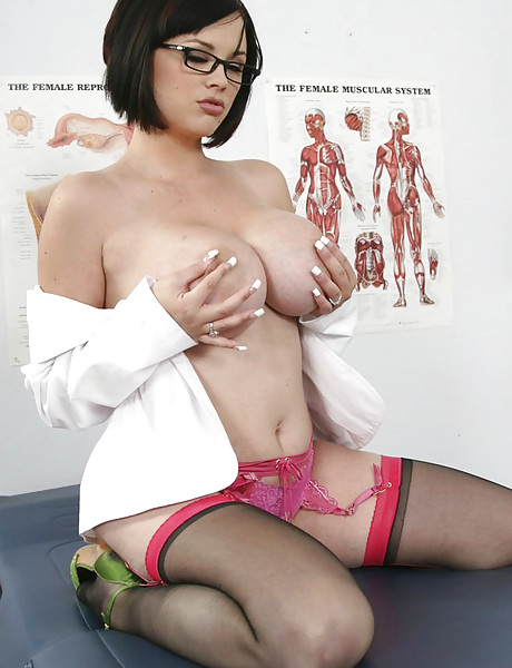 Smoking hot brunette doctor takes her uniform off and fucks with a dude in stockings.