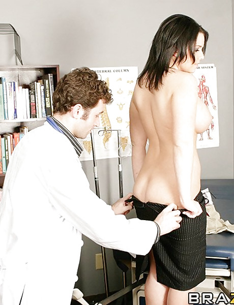 Foxy brunette chick strips her classy skirt and gets nailed by her hung doctor.