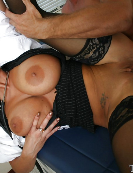 Classy big breasted mature vixen takes her black lingerie off and fucks in stockings.