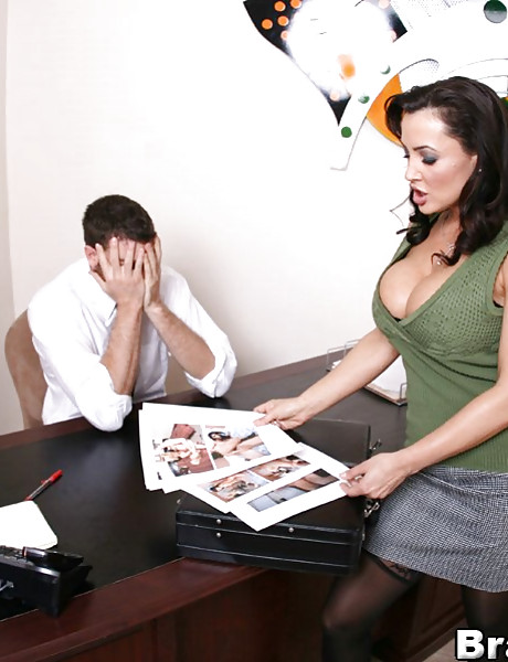 Classy brunette MILF strips her clothes in the office and gets fucked in stockings.