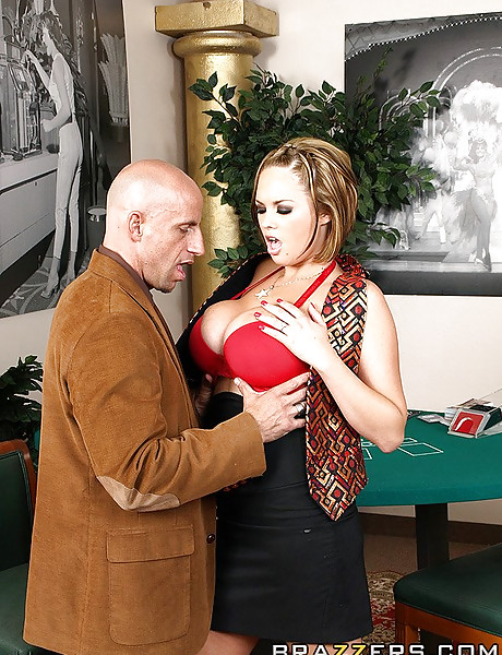 Big breasted whore takes her red lingerie off and fucks a handsome bald rich guy.