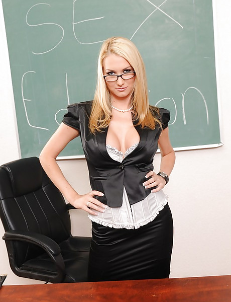 Smoking hot busty teacher seduces her student and gets fucked in sexy lingerie.