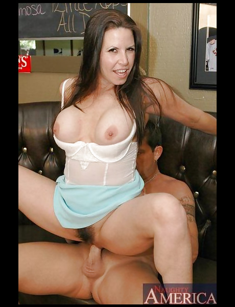 Foxy big breasted brunette babe takes her clothes off and jumps on huge boner.