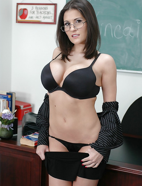 Big breasted brunette teacher spreads her legs and gets nailed on the desk.