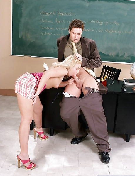 Smoking hot blonde schoolgirl slurps on her teacher's cock and gets banged hard.