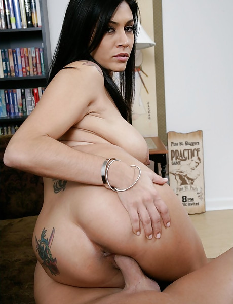 Big breasted brunette vixen takes her black thongs off and rides cock in heels.