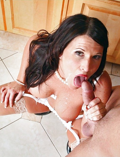 Classy brunette MILF babe takes her clothes off and fucks in sexy white stockings.
