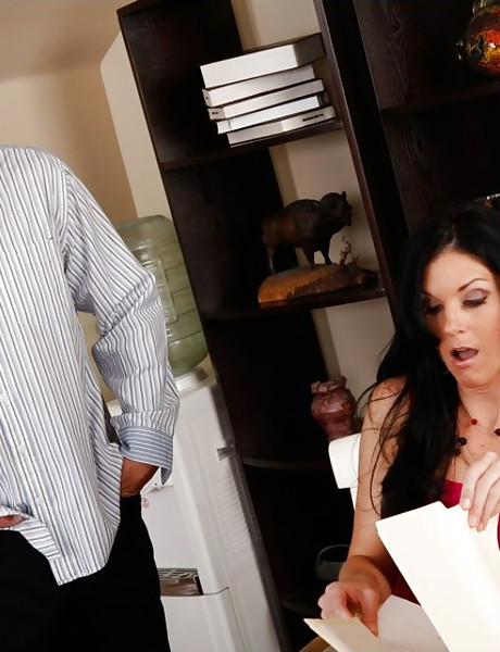 Hot classy brunette MILF strips in the office and gets nailed by her horny boss.