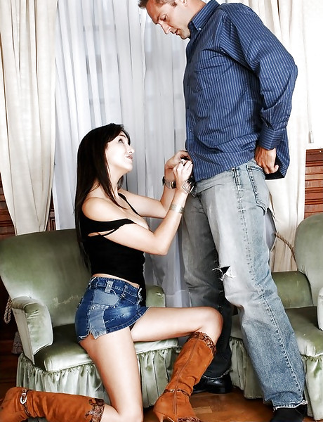Slutty brunette babe takes her denim skirt off and gets fucked in brown boots.