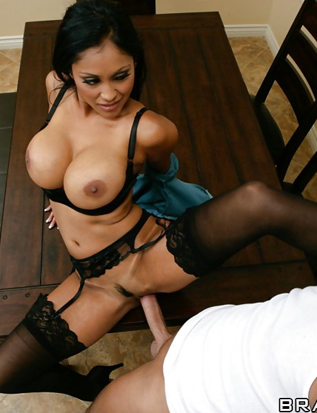 Classy brunette bitch takes her clothes off and gets fucked in black lingerie.