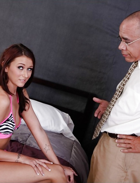 Attractive brunette babe takes her bikini off and gets fucked by older dude.