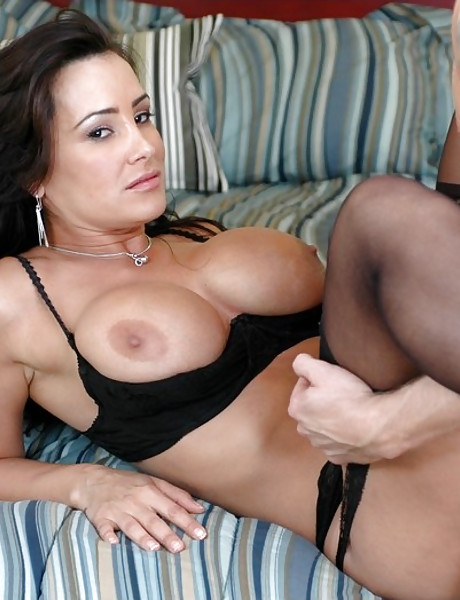 Busty brunette MILF babe takers her clothes off and fucks in black lingerie.