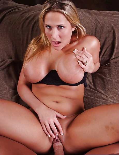 Busty blonde MILF strips her black lingerie and gets rammed by hard meat rod.