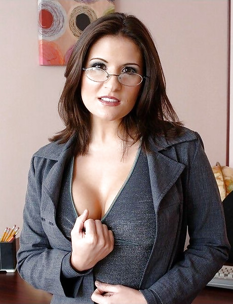Classy brunette office lady takes her clothes off and swallows hard fat boner.