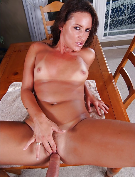 Hot brunette bitch takes her purple lingerie off and gets her fanny banged hard.