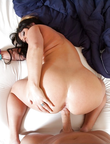 Big breasted MILF bitch takes her clothes off and rides a big hard meat pole.