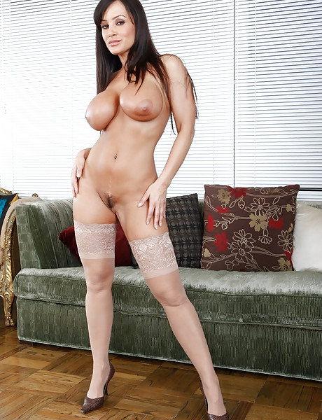 Classy brunette MILF bitch takes her lingerie off and fucks in sexy stockings.