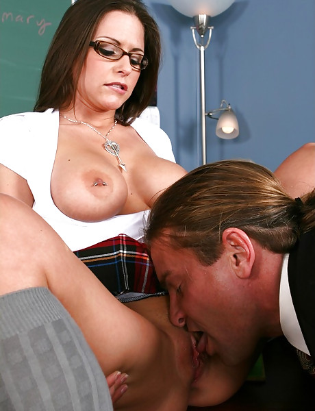 Busty brunette schoolgirl screams hard as she jumps on massive hard meat pole.