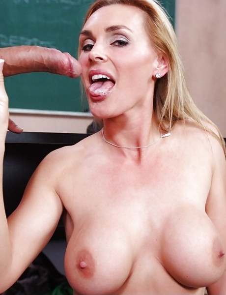 Foxy blonde mature teacher seduces a student and gets fucked in black stockings.