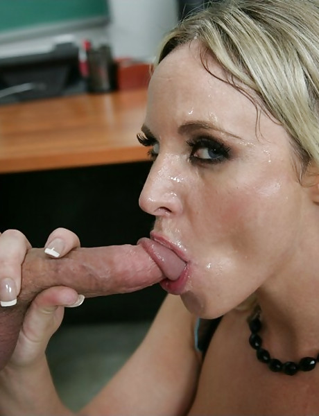 Classy blonde teacher seduces her student and fucks with him in black lingerie.