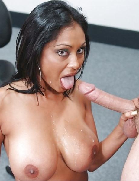 Classy busty black MILF seduces her coworker and fucks his cock in black stockings.