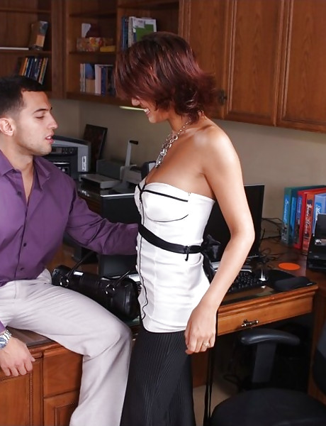 Classy brunette MILF boss strips in the office and fucks her younger coworker.