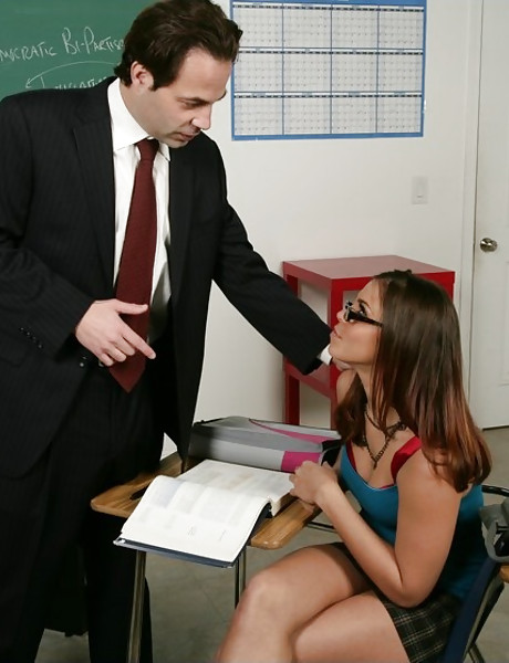 Hot busty schoolgirl slut takes her clothes off and slurps on her teacher's cock.