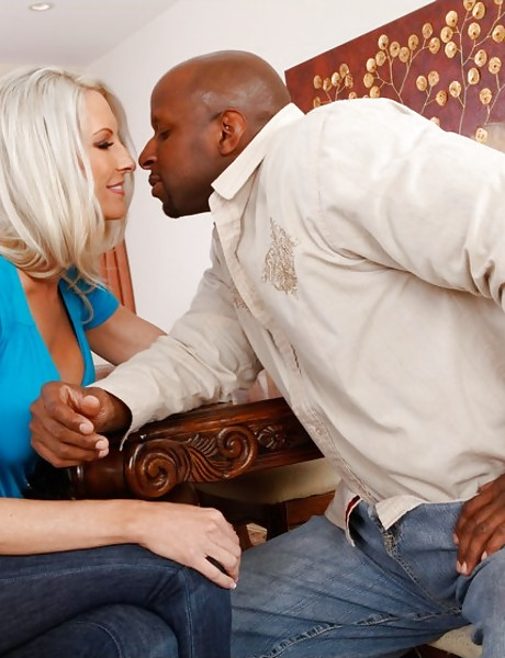 Smoking hot blonde babe screams hard as she gets pumped by big black boner.