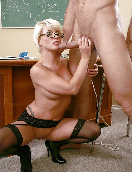 Classy MILF teacher takes her lingerie off and fucks in sexy black stockings.