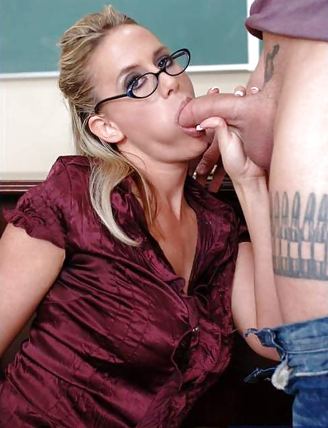 Classy blonde teacher strips for her student and gets fucked hard in stockings.