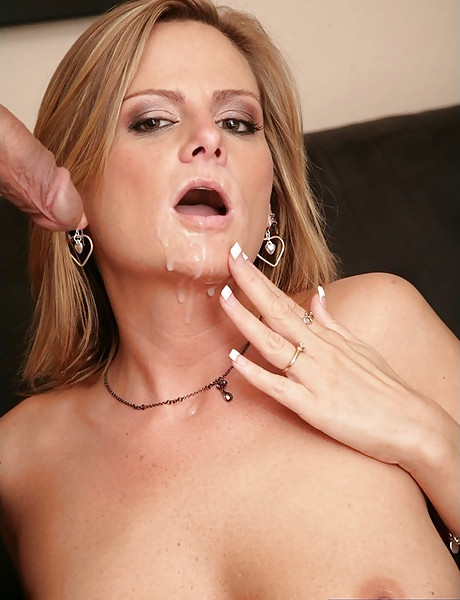 Busty blonde lady strips her blue lingerie and sucks a hard throbbing meat pole.
