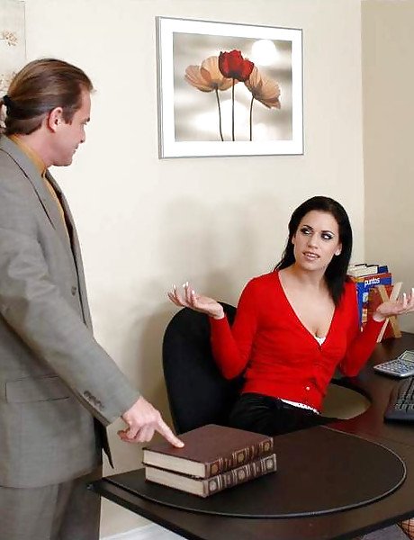 Classy brunette office babe takes her lingerie off and fucks with well hung stud.
