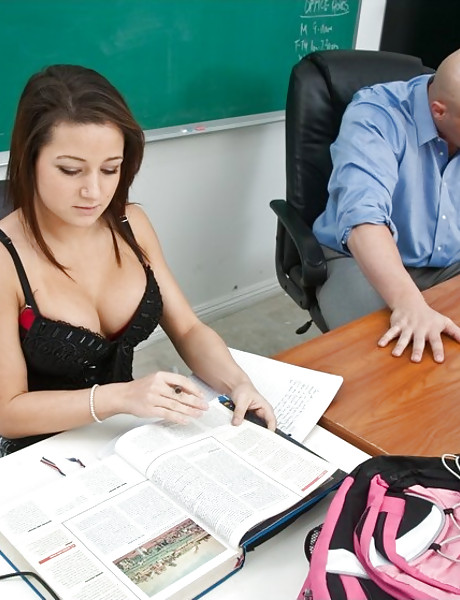 Horny busty schoolgirl chick takes her black dress off and rides on big member.