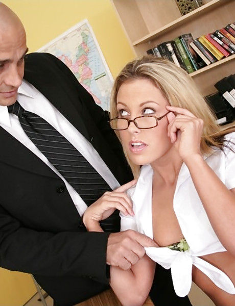 Foxy blonde schoolgirl seduces he teacher and gets her fanny banged hard and fast.