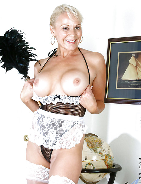 naughty french maid blonde with big boobs in black thong