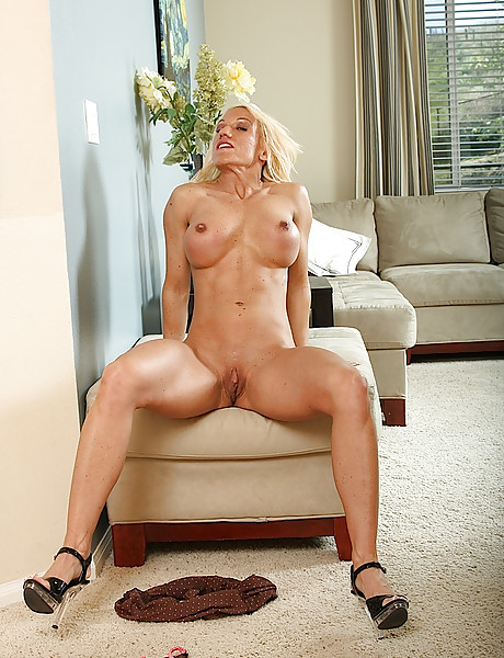 Blonde Blanche Bradburry strips and teases