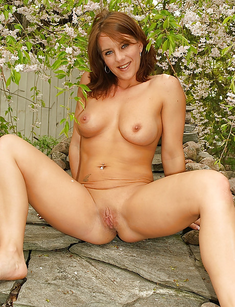 Horny milf gets naked in the outdoors and shows her perky tits and tight ass