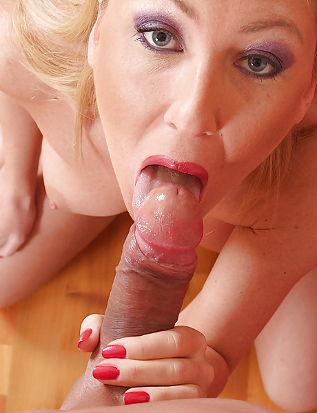 Horny blonde loves sucking a young hard dick and having a lot of sperm in her mouth