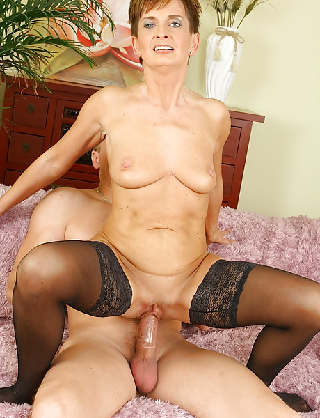 Horny granny sucking on a young hard dick riding it and loving jizz in her mouth