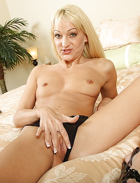 Horny and sexy blond wife gets rid of her cute undies and shows her naked body