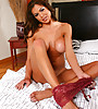 Big breasted brunette vixen strips her sexy lingerie and gets screwed hard and fast