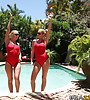 Dirty blonde MILF babe strips her bikini by the pool and gets screwed by hung bloke