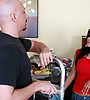 Classy latina MILF takes her clothes off and gets nailed by bald well hung dude.