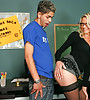 Classy blonde MILF teacher seduces her student and fucks in sexy black stockings.,